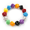 Multicoloured Acrylic 'Dice' Flex Bracelet - up to 20cm Length