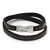 Unisex Dark Brown Leather Wristband - (for smaller wrist - 17cm length)