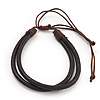 Unisex 2 Strand Dark Brown Leather Bracelet - Adjustable