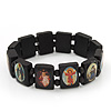 Dark Brown Wooden Jesus Flex Bracelet - Up to 20cm Length
