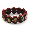 Brown Oval Wooden Jesus Flex Bracelet - Up to 20cm Length