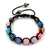 Unisex Multicoloured Acrylic Jewelled Balls Buddhist Bracelet - 10mm - Adjustable