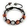 Unisex Orange/Metallic Silver Acrylic Jewelled Balls Shamballa Bracelet - 10mm - Adjustable