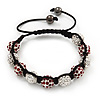 Unisex Shamballa Bracelet Crystal Burgundy Red&amp;Clear Swarovski Crystal Beads 10mm - Adjustable