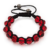 Unisex Red Glass Beads Shamballa Bracelet - 10mm - Adjustable