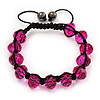 Unisex Fuchsia Glass Beads Shamballa Bracelet - 10mm - Adjustable