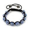 Unisex Buddhist Bracelet Crystal Sapphire Blue Coloured Swarovski Crystal Beads 10mm - Adjustable