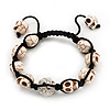 Antique White Skull Shape Stone Beads Buddhist Bracelet - 11mm diameter - Adjustable