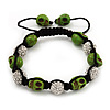 Light Green Skull Shape Stone Beads & Crystal Balls Shamballa Bracelet - 11mm diameter - Adjustable