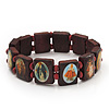 Stretch Brown Wooden Saints Bracelet / Jesus Bracelet / All Saints Bracelet - Up to 20cm Length