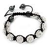 Unisex Clear Swarovski Crystal Balls & Smooth Round Hematite Beads Buddhist Bracelet - 12mm - Adjustable
