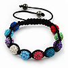 Unisex Shamballa Bracelet Crystal Multicoloured Swarovski Crystal Beads 10mm - Adjustable