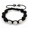 Unisex Black Resin Beads & Clear Crystal Balls Buddhist Bracelet - 9mm - Adjustable