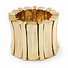 Chunky Wide Gold Textured Acrylic Flex Bracelet - 21cm Length