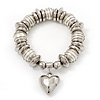 Chunky White Simulated Pearl & Silver Metal Bead 'Heart' Charm Flex Bracelet - 21cm Length