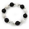 Black/ White Ceramic Bead Flex Bracelet - 21cm Length