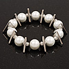 Chunky Faux Pearl With Triangular Bead Flex Bracelet - 22cm Length