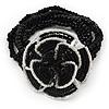 Black/White Glass Bead 'Rose' Flex Bracelet - up to 22cm Length