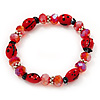 Red Glass 'Ladybug' And Faceted Bead Flex Bracelet - 20cm Length