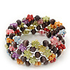 Acrylic Flower Bead Coil Flex Bracelet (Deep Purple) - Adjustable