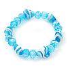 Light Blue Heart & Faceted Bead Flex Bracelet - 18cm Length