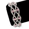 Two Row Pink/Clear Swarovski Crystal Bracelet - 17cm Length (7cm extension)