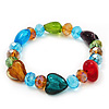 Multicoloured Heart & Faceted Bead Flex Bracelet - 18cm Length