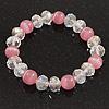 Pink/Transparent Glass Bead Flex Bracelet - 18cm Length