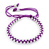 Plaited Purple Silk Cord With Silver Tone Bead Friendship Bracelet - Adjustable