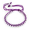 Plaited Purple Silk Cord With Silver Tone Bead Friendship Bracelet - Adjustable