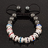 Hematite & Multicoloured Swarovski Crystal Beaded Buddhist Bracelet - Adjustable - 10mm Diameter