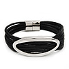 Silver Tone Oval Black Cotton Cord Magnetic Bracelet - 19cm Length