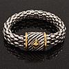 Stylish Two-Tone Mesh Magnetic Bracelet - 18cm Length