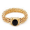 Gold Plated Mesh Magnetic Bracelet With Black Central Stone - 18cm Length