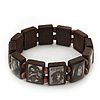 Brown Bob Marley &quot;One Love&quot; Wooden Stretch Bracelet - up to 20cm length