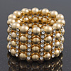 Wide Matt Gold Bead/Crystal Flex Bracelet - 18cm Length