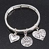 Silver Plated Charm 'Heart, Serenity & Angel' Flex Bangle Bracelet - 18cm Length