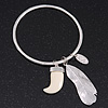 Thin Hammered Charm 'Tooth, Feather & Medallion' Bangle In Silver Plating - 18cm Length
