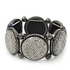 Glittering Metallic Silver Circle Flex Bracelet In Gun Metal - 20cm Length