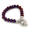 Chameleon Purple Faceted Glass Bead 'Heart' Flex Bracelet - up to 22cm Length