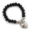 Jet Black Faceted Glass Bead 'Heart' Flex Bracelet - up to 22cm Length