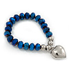Chameleon Blue Faceted Glass Bead 'Heart' Flex Bracelet - up to 22cm Length