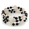 Acrylic & Shell Bead Coil Flex Bangle Bracelet (Black and White) - Adjustable