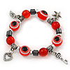 Evil Eye Red Acrylic Bead Protection Stretch Bracelet In Burn Silver - 9mm Diameter - Adjustable