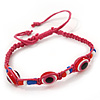 Evil Eye Acrylic Bead Protection Friendship Cord Bracelet In Pink - Adjustable