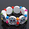 White Wooden &#039;Mexican Candy Skull&#039; Flex Bracelet - Adjustable