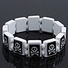 White/Black  Wood Flex &#039;Skull &amp; Crossbones&#039; Bracelet - up to 20cm Length