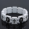 White/Black Wood Flex 'Cross' Bracelet - up to 20cm Length
