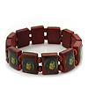 "Brown Bob Marley ""One Love"" Wooden Stretch Bracelet - up to 20cm length"