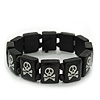 Black/White Wood Flex &#039;Skull &amp; Crossbones&#039; Bracelet - up to 20cm Length